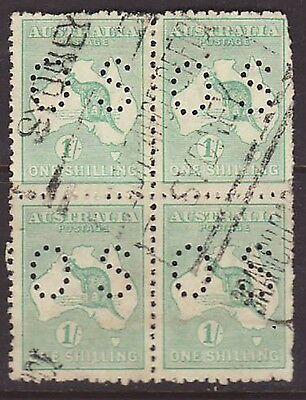 3rd wmk 1918 1/ Shilling green blue block of 4 perforated OS used