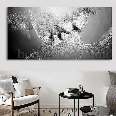 Black & White Love Kiss Abstract Canvas Painting Wall Art Picture Print Decor
