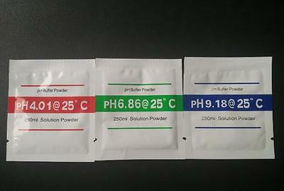 3pcs PH Buffer Solution Powder PH Test Meter Measure Calibration 4.01 6.86 9.18