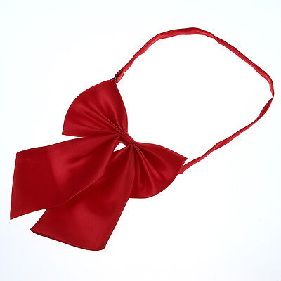 Wine Red Women Adjustable Pure Color Women's Bow Tie N4M4