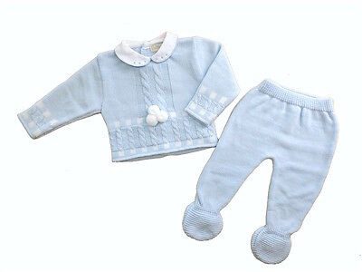 Baby Boys Spanish Style 2 Pce Cable & Pom Pom Knitted Set Newborn 0-3 3-6 Month