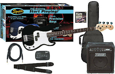 Squier Set Affinity Precision Bass BLK / Fender Rumble 15 Bass Amp + Zubehör