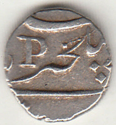 "French India Pondichery Fanon 1/5 Rupee With Date 1755 Symbol Of ""p"" Silver Coin"