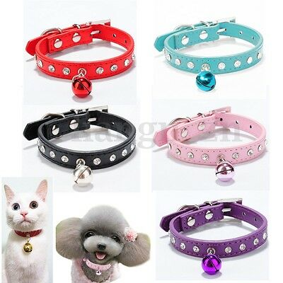 Bling Collier Strass Tour Cou Cuir PU Grelot Bell Petit Chien Chiot Chat Animaux