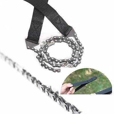 Hand Chainsaw Survival Tool Bushcraft Camping Bug Out Pocket Chain Saw & Pouch