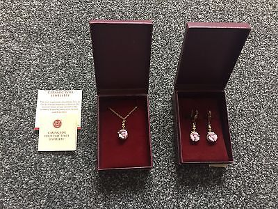 NEW Past Times Rose Earrings And Necklace Set