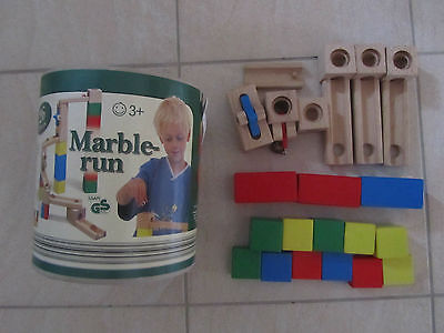 Wooden Marble Run - Playbear (Aldi?) - 21 Pieces - Made in Germany - Ages 3+