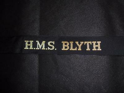 Genuine Issue Royal Navy HMS Blyth Cap Tally for Sailor's Hat