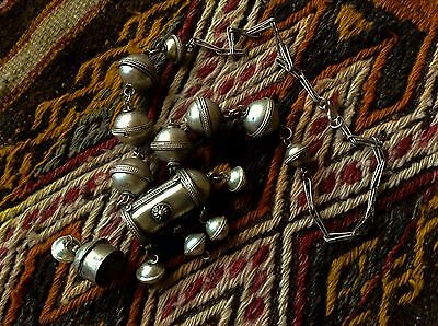Vintage African Tuareg berber woman's necklace collier Bell silver Scroll Box