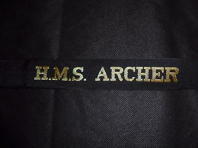 Genuine Issue Royal Navy HMS Archer Cap Tally for Sailor's Hat