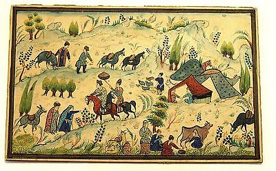 Antique Persian Handmade Miniature Painting Islamic Artwork Rural Scene