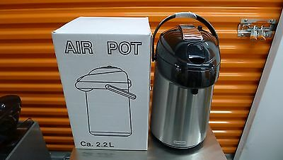 NEW Stainless Steel 2.2L Coffee/Tea Airpot Lever-Top, Steel Liner Thermos