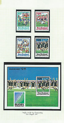 New Zealand MNH 1991 World Cup Rugby Championship M/S plus set MNH stamps (A041)
