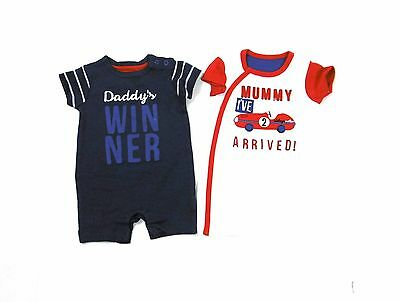 2 Pack Baby Boys Ex Mothercare Mummy Daddy Summer Rompers 1 - 24 Months