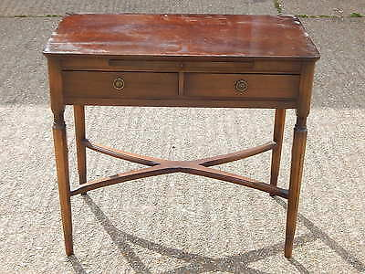 Vintage mahogany 2 drawer side table with pull out writing desk with leather top