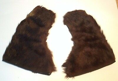 Pair of Antique Vintage Handmade Bear/Beaver Fur Gloves