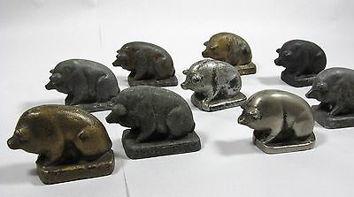 Collection 9 Antique PIG Paperweights Advertising Cast Iron Lead