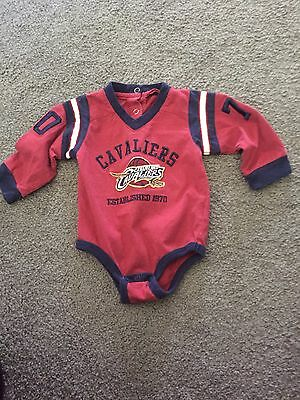 Long Sleeve Cleveland Cavs Baby Bodysuit 0-3 Months Red And Blue
