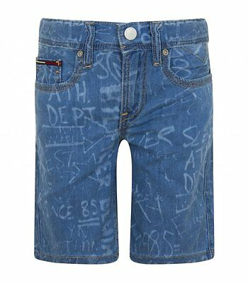 TOMMY  HILFIGER JUNIOR Bermuda in denim celeste con scritte KB0KB02865 911 BAMBI