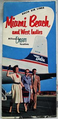 Delta Airlines Miami Beach  West Indies Advertising Travel Brochure 1953 Vintage