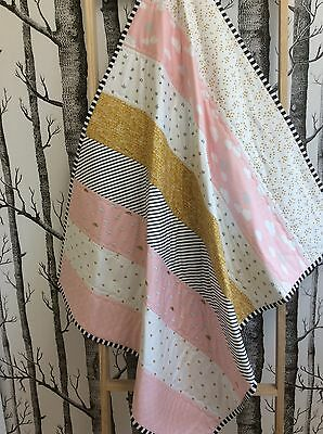 Baby Toddler Patchwork Cot Handmade Quilt Pink Gold Grey