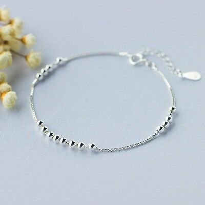 New! Solid 925 Sterling silver Simple Round Beads Bracelet + Gift bag