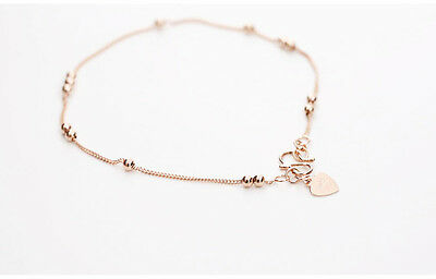New! 925 Sterling silver Rose gold plated Simple Beads Bracelet + Gift bag!