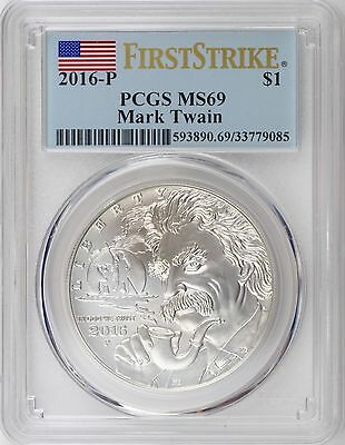2016-P Mark Twain Uncirculated Silver Dollar PCGS MS69 First Strike Mint State