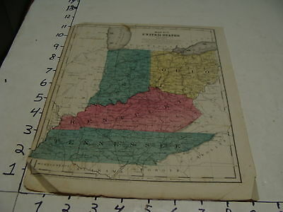 vintage 1853 map--TENNESSSEE, KENTUCKY, INDIANA, OHIO
