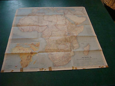 """Original NATIONAL GEOGRAPHIC MAP: 1943 AFRICA 29 x 31"""" taped edges as shown"""