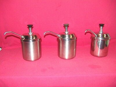 Lot of 3 Server Pump CP-10 8300 94009 Stainless Condiment Restaurant