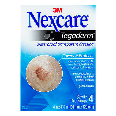 NEW Nexcare First Aid Dressing Pack 4 PK Waterproof Transparent Dressings Large