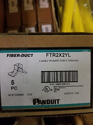 "Panduit FTR2X2YL Fitting, 3-Sided BRC Trumpet Spillout for 2"" x 2"" Exit, Yellow"