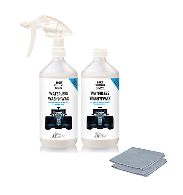Williams Racing Waterless Wash and Wax Cleaning car cars kit 2 x 1L