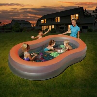Inflatable Glow Family Swimming Pool kids Baby Outdoor Patio Activity Water Play