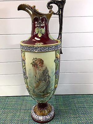 "ANTIQUE Art Nouveau Tall Floral Ewer Vase HAND PAINTED FEMALE IN GOWN 20"" HIGH"