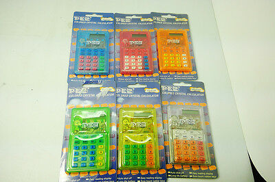 Pez Calculator color crystal lot of 6 one of each color vintage