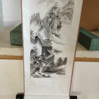 Vintage Chinese Scroll Painting On Silk Great Wall Of China