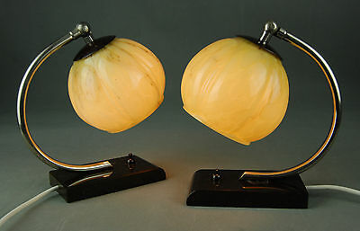 Pair of MARBLE & GLASS Bedside Lamps ART DECO Mid Century 1930s 40s 50s Era
