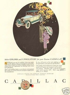 antique 1925 CADILLAC V-63 Custom Upholstery UMBRELLA GIRL Tree Leaves CAR Ad