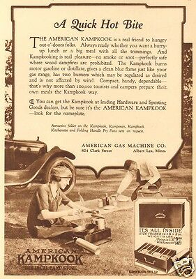 Antique 1921 American Gas Machine KAMPKOOK Camp Stove Camping PICNIC Cooking Ad