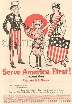 Antique 1910's WWI Patriotic UNCLE SAM American Flag Liberty Army Mouse Art PG