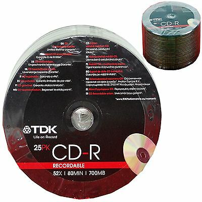 TDK CR-R Recordable Discs 25 Pack or 200 Pack 80 MINS 52X 700MB