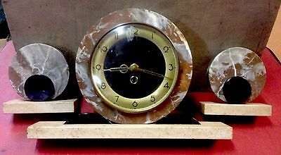 Antique Art Deco 3 Tiered Marble Mantle Clock