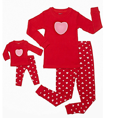 Leveret Hearts 2 Piece Matching Kid & Doll Pajama Set, Red, 4 Years
