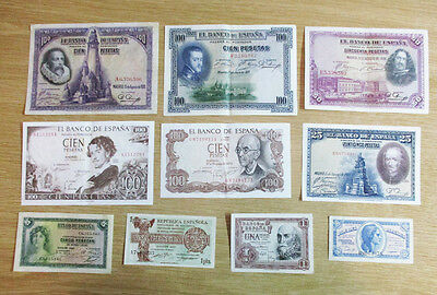 SPAIN 10 DIFFERENT BANKNOTES BETWEEN 1925 & 1970 - Lot. 0001