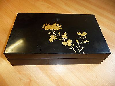Vintage Chinese Papier Mache Lacquer Box Gold Flower Handpainted Jewellery Glove