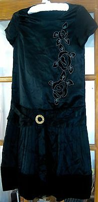 Antique/vintage dress, 1920's flapper dress, black satin and velvet