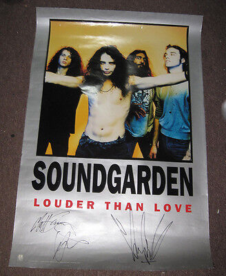 """Soundgarden Band  signed Poster  24""""x36"""" LOA JSA by 3 w/ Chris Cornell"""