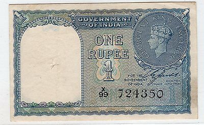 High Grade India 1 Rupee 1940 X Serial # In XF P-25a See Scan